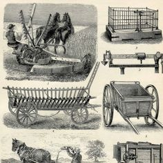 Agriculture Farming Equipment Tools Horses by AntiquePrintsAndMaps, $15.00