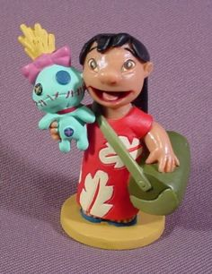 "Disney Lilo & Stitch Lilo Holding Stitch Doll PVC Figure, 2 3/8"" Tall - RONS RESCUED TREASURES"
