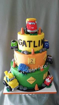 Cars and trucks cake