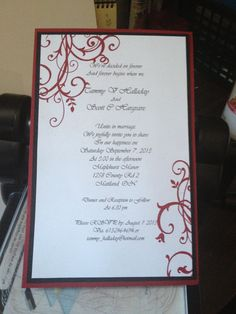 Handmade by Hannah Look: Cherry cobbler, black and white wedding invitation so simple and elegant