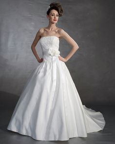 Satin Ruffle Strapless Court Bridal Ball Gown Wedding Dress...