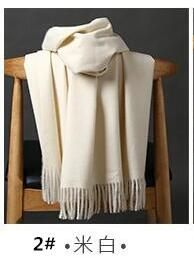 Beata Chen Women Solid Color Cashmere Scarves Tassel lady Winter Thick Warm Scarf Luxury Brand Scarf Pashmina Female Long Shawl
