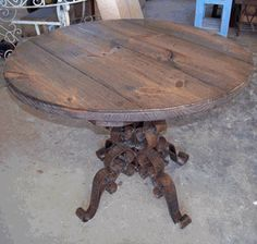 Wrought Iron Table Base W/ Large Custom Wooden Top