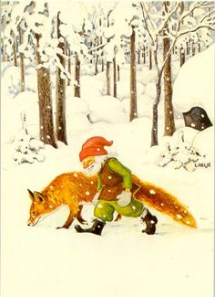 fox and elf Art And Illustration, Christmas Illustration, Illustrations And Posters, Kobold, Fairytale Art, Fox Art, Scandinavian Christmas, Christmas Gnome, Gnomes