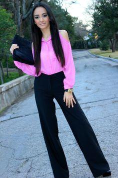 super cute love this peek a boo pink blouse