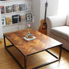 Check out this unique way to integrate parquet into your home decor. This parquet coffee table looks amazing! Handmade Furniture, Upcycled Furniture, Home Furniture, Business Furniture, Outdoor Furniture, Table Furniture, Reclaimed Parquet Flooring, A Table, Dining Table