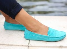 Turquoise Suede Loafers