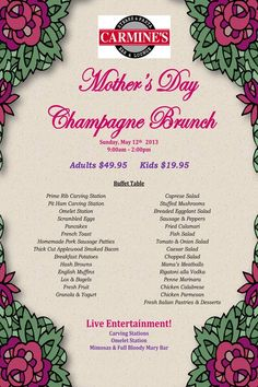 Mothers Day is only a few weeks away! Book your reservation soon at Carmine's.