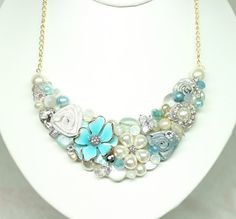 Tiffany Blue Statement necklace Sea Glass BibAqua by BrassBoheme