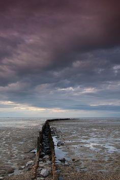 grey sky over The Wadden Sea, wetlands (UNESCO World Heritage Site), The Netherlands