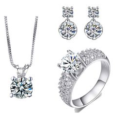 >> Click to Buy << AAA Cubic Zirconia Necklace And Earring Set White Gold color Ring Sets Wedding Jewelry Set CZ Jewelry Bijoux ASM017 #Affiliate