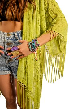 no one understands my neon green obsession...Lime green kimono!