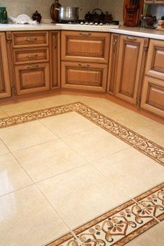 Foyer Tile Ideas Design Ideas  Pictures  Remodel  and Decor   House     ceramic floor tiles with decorative rectangular border gives the kitchen  tile designs for perfect warm have traba