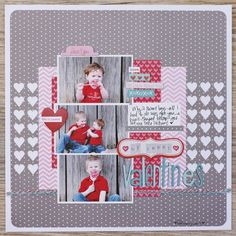 Cute Layout- the Cameo cut is the hearts cut out of the gray paper, backed by the white cardstock.