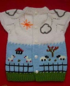 Örgü bebek yelek, hırka ve süveter You are in the right place about Knitting crochet Here we offer you the most beautiful pictures about the Knitting sweaters you are looking for. How To Start Knitting, Knitting For Kids, Easy Knitting, Knitting Projects, Baby Knitting Patterns, Baby Patterns, Baby Cardigan, Knit Baby Dress, Knitted Bags