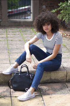 ASOS Farleigh High Waist Slim Mom Jeans and stripe Cos T-shirt | Samio - www.samio.co.uk