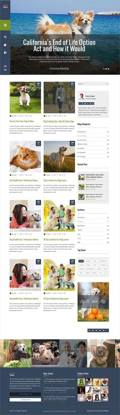 Pet town is a clean, stylish and modern trend #Photoshop template for #pets #blog and shop websites download now➩  https://themeforest.net/item/pet-town-psd-template/19068836?ref=Datasata