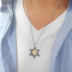 Silver Star of David Gold Ani L'dodi PendantMy Beloved | Etsy