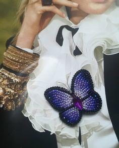 броши ручной работы бабочка. Брошь из бисера. Лучшие украшения ручной работы.