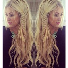 Gorgeous waves, messy fishtail braid.