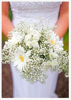 daisy and babies breath bouquet just add coral flowers too and this is perfect!