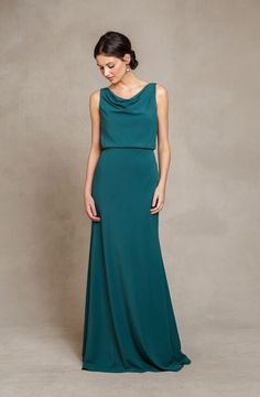 Chic Cowl Neck Casual Style A-line Emerald Green Long Chiffon Bridesmaid Dress