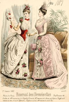 Victorian fashion plate, Journal des Demoiselles 1887