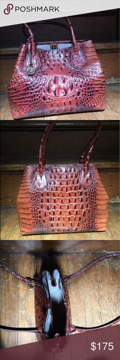 Brahmin crocodile purse Genuine crocodile Brahmin purse in excellent condition (no stains, tears, scuffs, etc.). This bag has a supple exterior and a velvety, roomy interior. You can wear it over your shoulder or carry it in your hand. Comes with dust cover. Brahmin Bags Shoulder Bags