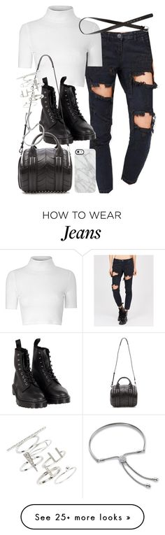 """""""Outfit with boyfriend jeans"""" by ferned on Polyvore featuring Glamorous, H&M, Dr. Martens, Alexander Wang, Uncommon, Topshop and Monica Vinader"""