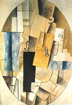 Georges Braque - Still Life With Violin - synthetic cubism Cubist Artists, Cubism Art, Georges Braque Cubism, Cubist Sculpture, Synthetic Cubism, Picasso And Braque, Modern Art Styles, Francis Picabia, Rene Magritte