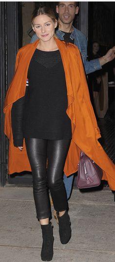 Who made  Olivia Palermo's black stripe sweater, purple handbag, brown coat, and skinny leather pants?
