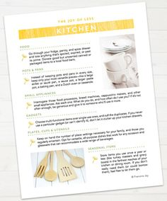 Need help decluttering your kitchen? Get this printable (+11 more) when you pre-order The Joy of Less: http://www.missminimalist.com/preorders/