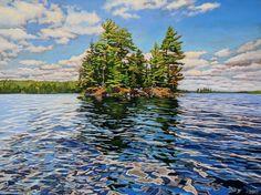 Acrylic on Gallery Canvas Lake Opeongo, Algonquin Park Watercolor Landscape, Landscape Art, Landscape Paintings, Landscapes, Watercolour, Realistic Paintings, Cool Paintings, Algonquin Park, Anna