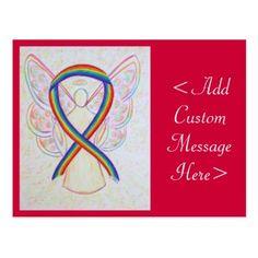 LGBTQ Rainbow Awareness Ribbon Angel Custom Postcard Stonewall Riots, Testicular Cancer, Rainbow Ribbon, Custom Postcards, Social Awareness, Awareness Ribbons, Pride, Art Gallery, Angel