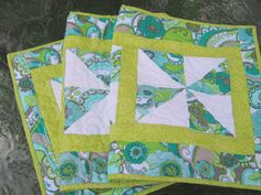 Quilted Table Runner Gray Blue Lime Pinwheels by bungalowquilts