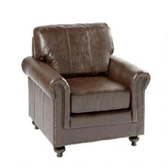 One of my favorite discoveries at ChristmasTreeShops.com: Bonded Leather Library Chair with Nailhead Trim
