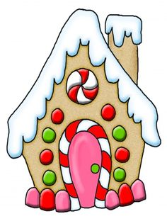 Gingerbread House Clipart - Clipart Suggest Christmas Rock, Ribbon On Christmas Tree, Christmas Gingerbread, Christmas Signs, Winter Christmas, Christmas Time, Christmas Crafts, Christmas Ornaments, Christmas Drawing