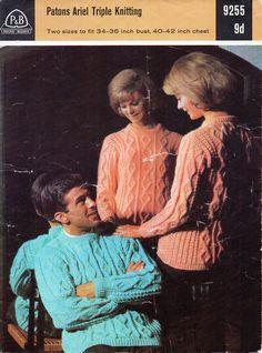 "ladies aran sweater mens aran sweater knitting pattern aran jumper crew neck 34-42"" chunky bulky 12 ply aran knitting pattern pdf download by Hobohooks on Etsy"