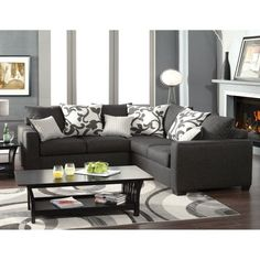 Furniture of America Lleida 2-Piece Fabric Sectional Sofa Charcoal - IDF-3015-SEC