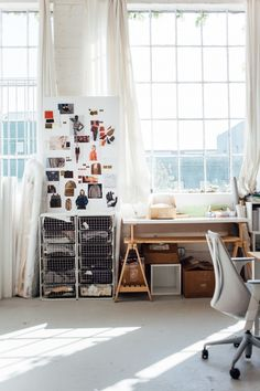 Sawhorse table & mood boards at Everlane in San Francsico