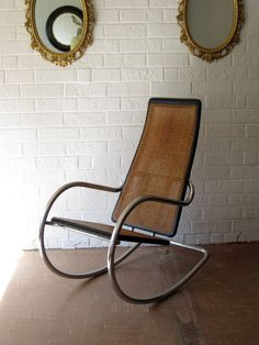 70s Italian Rocking Chair  Chrome and Ebonized Wood by contentshome, $895.00 - Tres chic