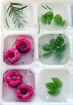 To make your drink flavorful and attractive, freeze berries or herbs in a traditional ice mold before adding to lemonade, a cocktail, or simple water. My favorites are raspberries, pomegranate seeds, basil or mint.
