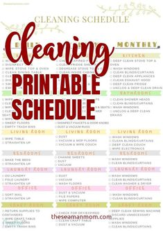 This handy printable cleaning schedule helps you stay on track & keep your home tidy all the time! Make your home sparkle with a cleaning schedule printable