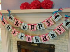 Mustache Birthday Party Banner Chevron Mustache Party Decorations-Girls Birthday Garland- Adult or Kids Birthday Banner- You Pick the Colors