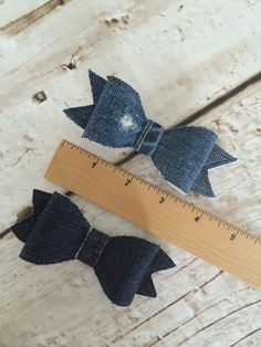 Denim Hair Bow on Alligator Clip by letterbdesigns on Etsy