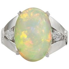 Pre-owned 14K White Gold Opal Diamond Ring Size 6 (4.060 BRL) ❤ liked on Polyvore featuring jewelry, rings, opal jewelry, opal rings, 14 karat diamond ring, 14 karat white gold ring and diamond rings