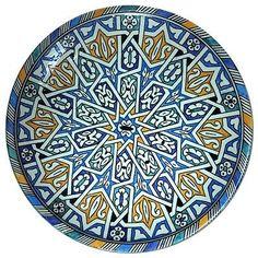 Moroccan Ceramic Bowl Wall Plate in Traditional Geometric Arabesque Color Design