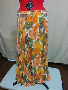 Reversible Full Skirt Tiger Lilies Spring Green Coldwater Creek Plus Size XXL 2X  | eBay