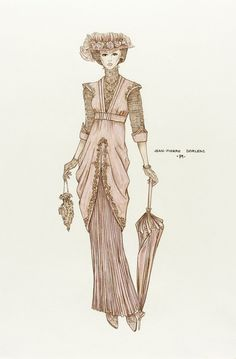 Costume Sketch of Jane Seymour as Elise McKenna in Somewhere in Time' by Jean-Pierre Dorleac| LACMA Collections