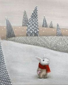 This is my all-time favorite painting by Catherine Zarip. It just warms my heart. Zarip's work is included in over 100 books. Art And Illustration, Children's Book Illustration, Lapin Art, White Rabbits, Rabbit Art, Bunny Art, Funny Bunnies, Jolie Photo, Winter Art